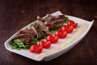 Food photo, steak, salad, tomatoes and cheese
