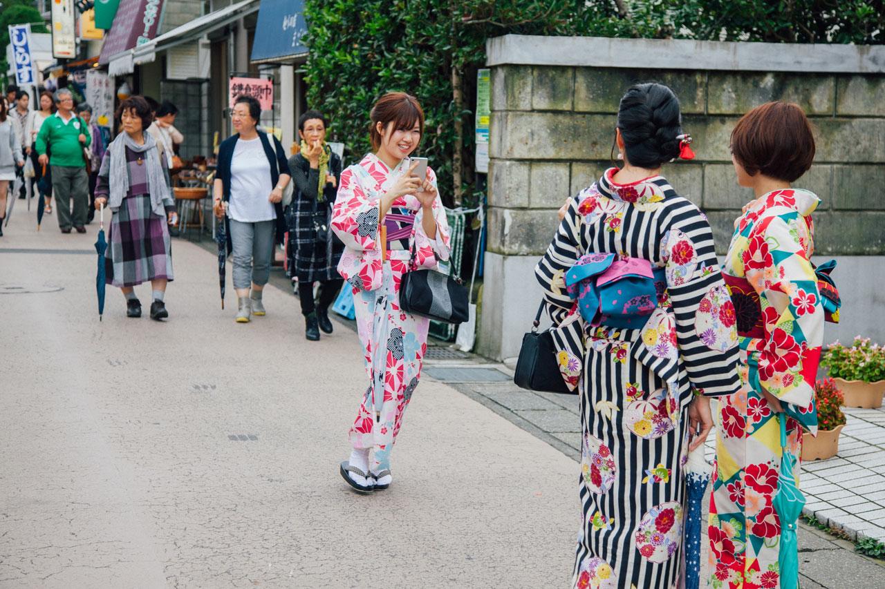 japanese girls wearing kimono in kamakura, japan