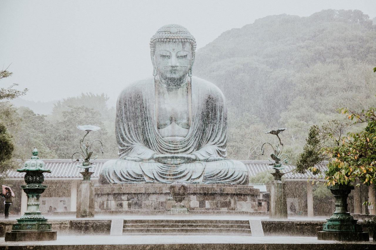 rain Budha statue in Kotoku-in temple, Kamakura